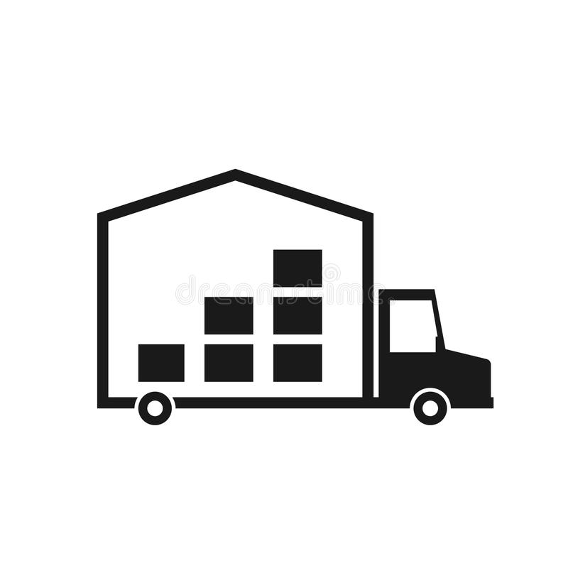 Moving truck icon. Vector image isolated on white background stock illustration