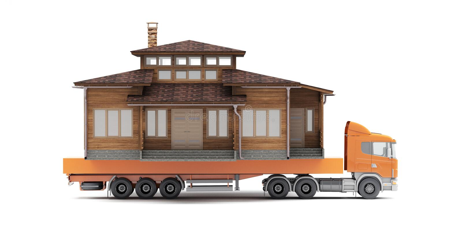 Moving the whole big house with a truck. Concept. 3d rendering stock illustration