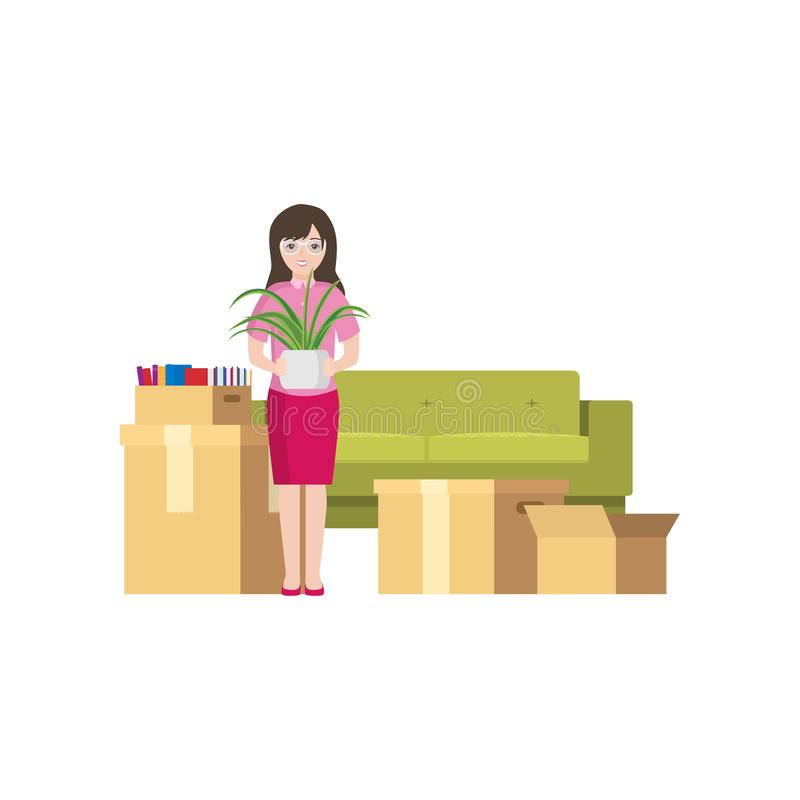 Moving a young girl with packed boxes around. A young girl with a flower in her hands and packed boxes around waiting for the carrier royalty free illustration