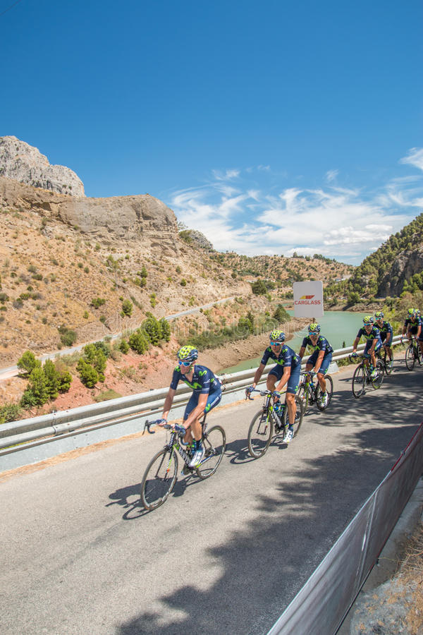 Movistar Cyclist Team at Caminito del Rey Stage stock image