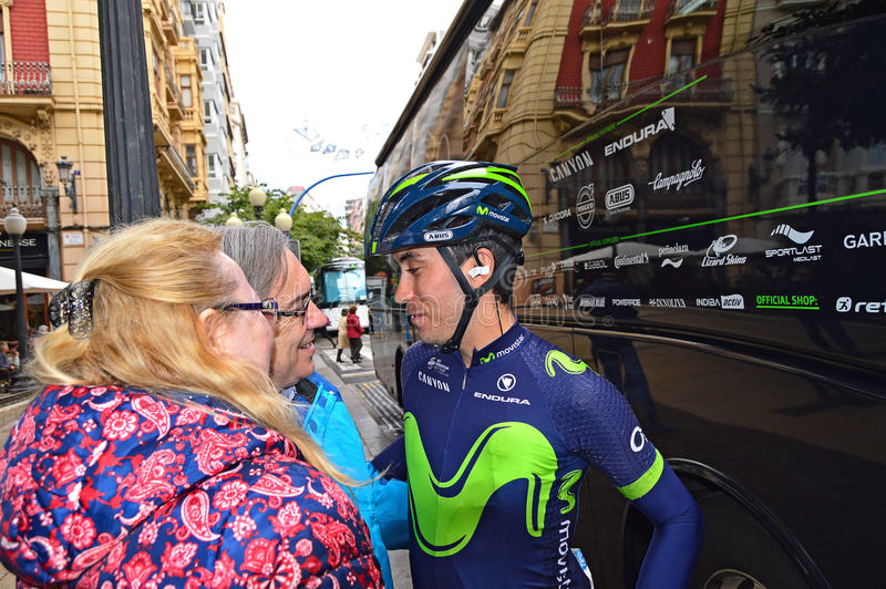 Movistar Racing Cyclist Talking stock photos