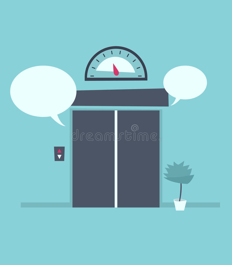 Mowa bąbel blisko zamkniętych wind drzwi royalty ilustracja