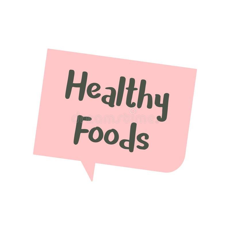 Mowa bąbel o zdrowia jedzenia grafiki ilustraci ilustracji