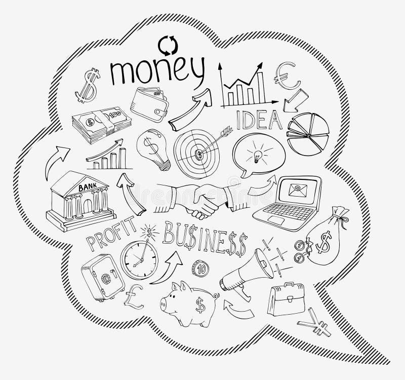 Mowa bąbel z biznesu i pieniądze ikonami royalty ilustracja