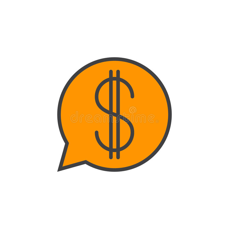 Mowa bąbel z dolarowego znaka linii ikoną, wypełniający konturu wektor ilustracja wektor