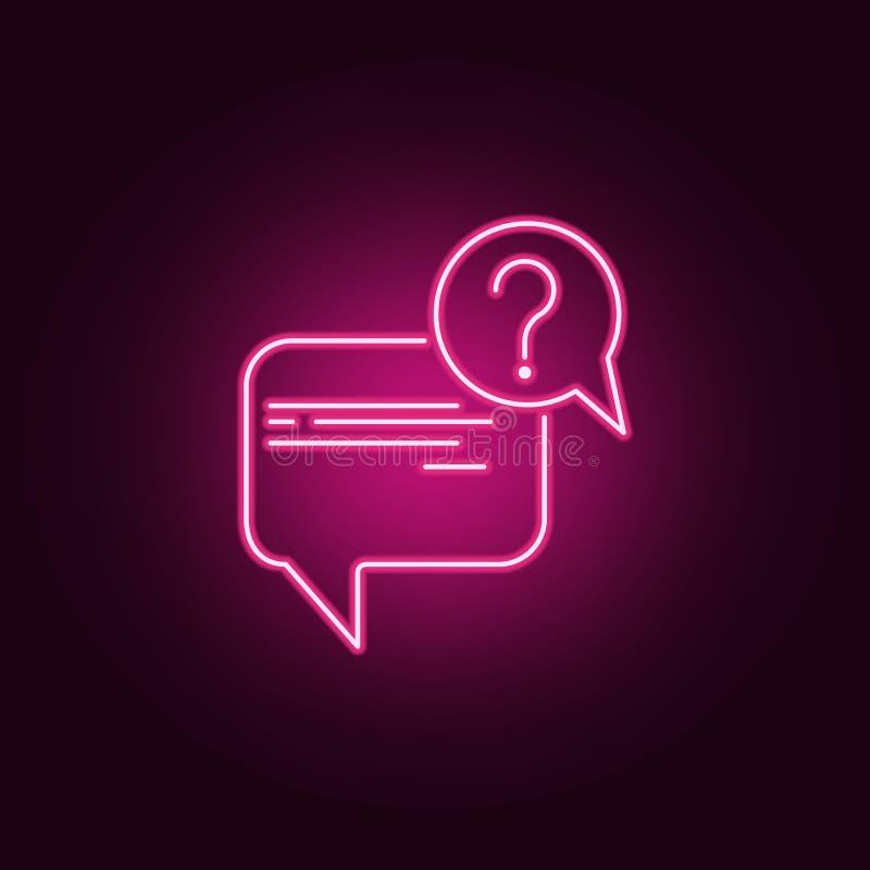 mowa bąbel z pytanie ikoną Elementy wywiad w neonowych stylowych ikonach Prosta ikona dla stron internetowych, sieć projekt, wisz ilustracji