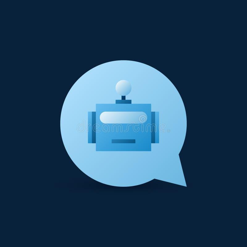 Mowa bąbel z robot głowy inside wektorową błękitną ikoną ilustracja wektor