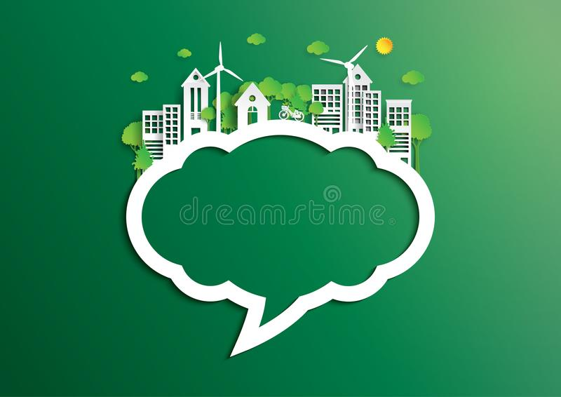 Mowa bąbel zielony miasto środowiska pojęcia papieru sztuki sty ilustracja wektor
