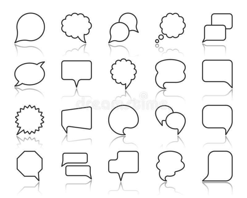 Mowa bąbla czerni linii ikon wektoru prosty set ilustracji
