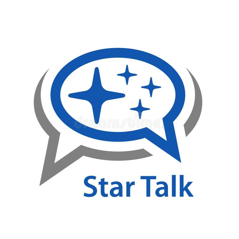 Mowa bąbla gwiazdy rozmowy ikona royalty ilustracja