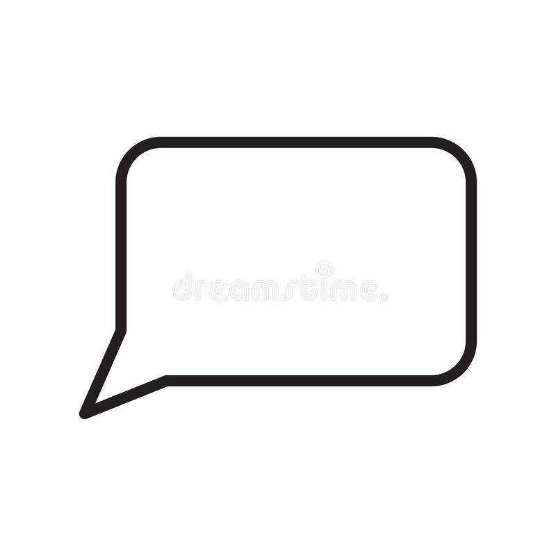Mowa bąbla ikony wektoru znak i symbol odizolowywający na białym tle, mowa bąbla logo pojęcie, konturu symbol, liniowy znak ilustracji