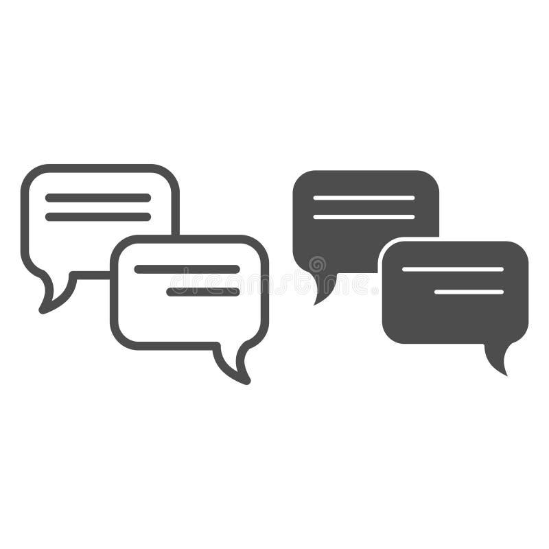 Mowa bąbla linia i glif ikona Gadki wektorowa ilustracja odizolowywająca na bielu Komunikacyjny konturu stylu projekt royalty ilustracja
