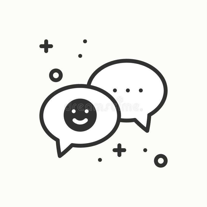 mowa bąbla linii ikona Rozmowy gadki dialog wiadomości pytanie Cienki liniowy partyjny podstawowy element Wektor prosty royalty ilustracja