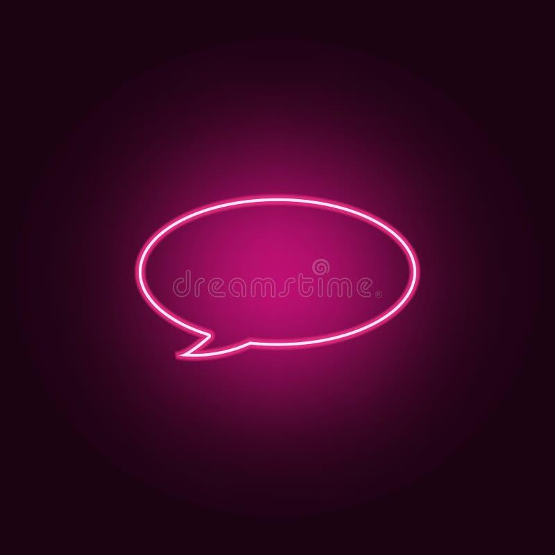 Mowa b?bla ikona Elementy sie? w neonowych stylowych ikonach Prosta ikona dla stron internetowych, sie? projekt, mobilny app, ewi ilustracji