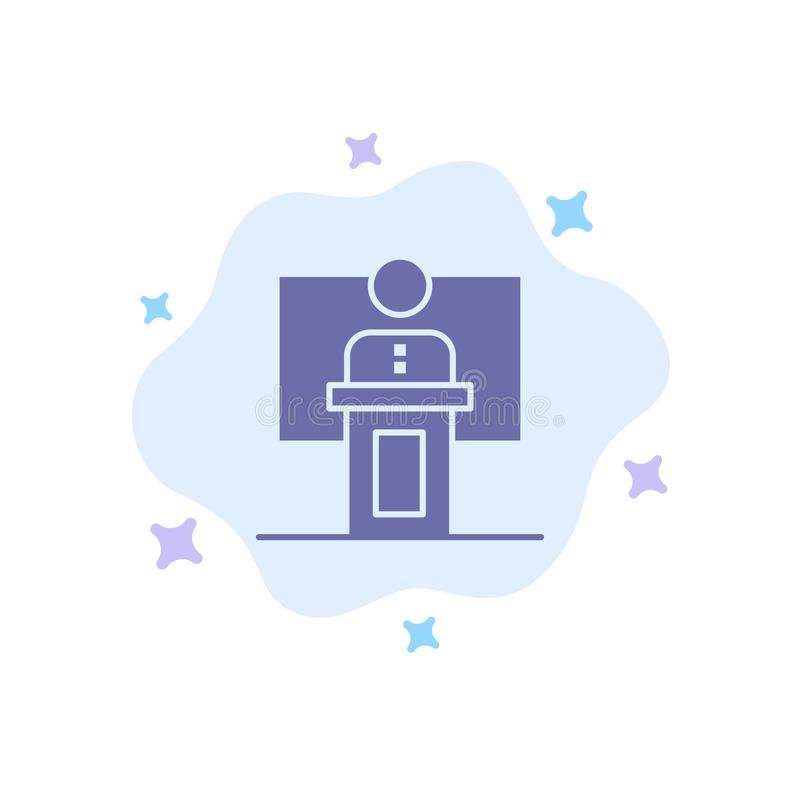 Mowa, biznes, konferencja, wydarzenie, prezentacja, pokój, Głośnikowa Błękitna ikona na abstrakt chmury tle ilustracji