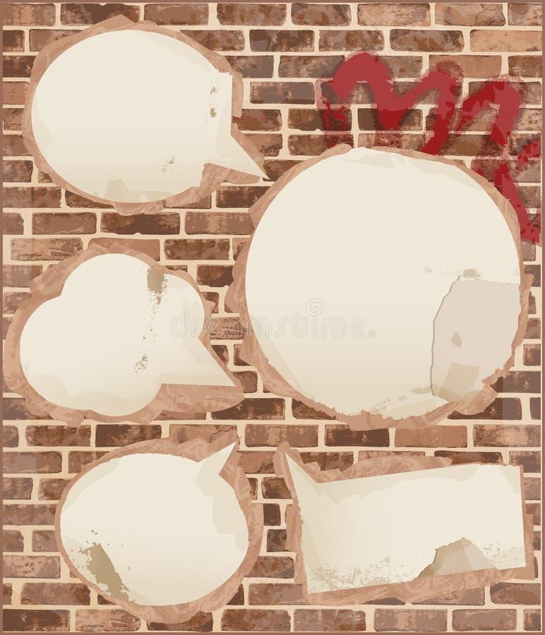 Mowa gulgocze na ściana z cegieł teksturze royalty ilustracja