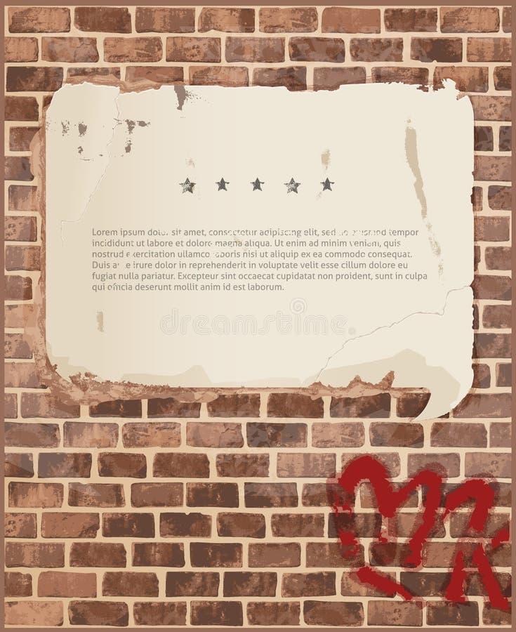 Mowa gulgocze na ściana z cegieł teksturze ilustracji