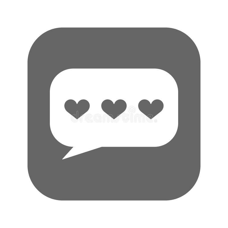 Mowa gulgocze z serce ikony wektorem, wypełniający mieszkanie znak, stały biały piktogram odizolowywający na bielu Miłości gadki  ilustracji