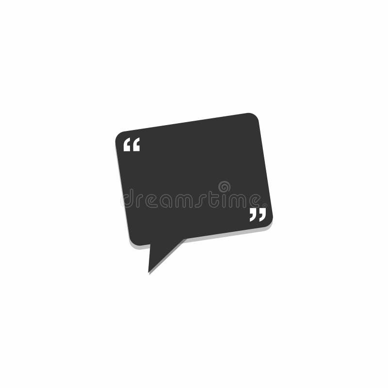 Mowa prostokąta bąbla ikona Czarna gadki ikona na białym tle Komiczka, rozmowa royalty ilustracja