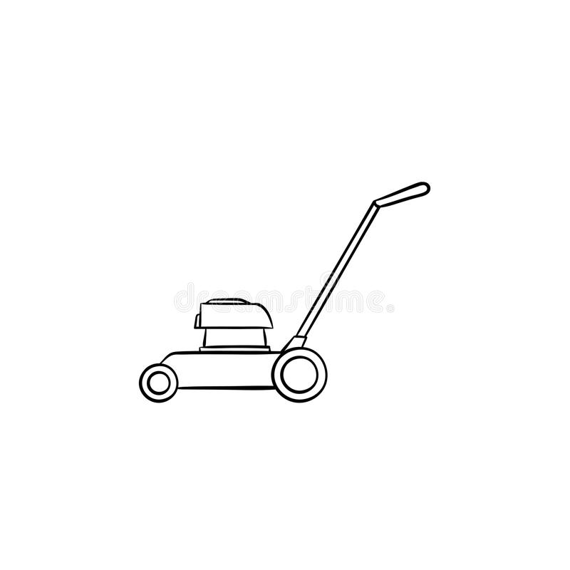 Mower hand drawn sketch icon. stock illustration