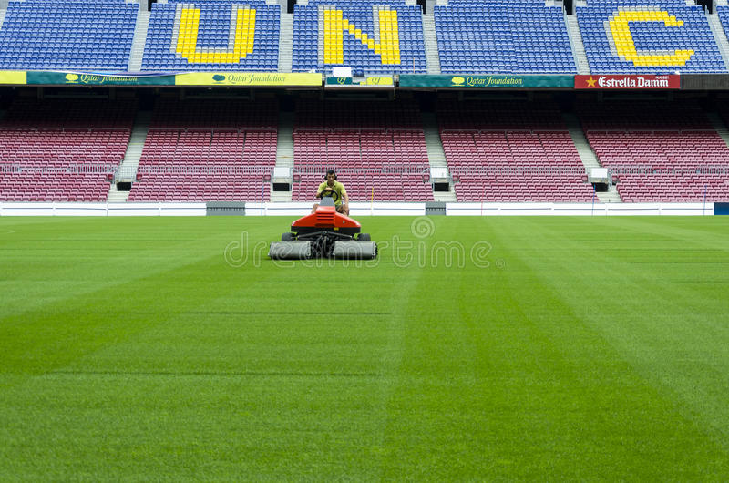 mowing grass on camp nou editorial photography  image of football