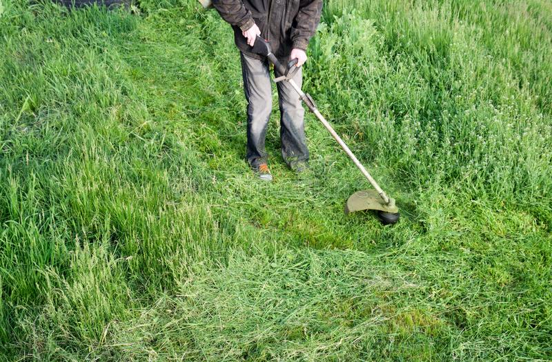 Application trimmers. Mowing green grass using a fishing line trimmer. Mowing green grass using a fishing line trimmer. Application trimmers stock photography
