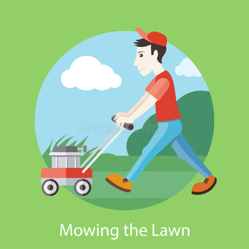 Mowing the Lawn vector illustration