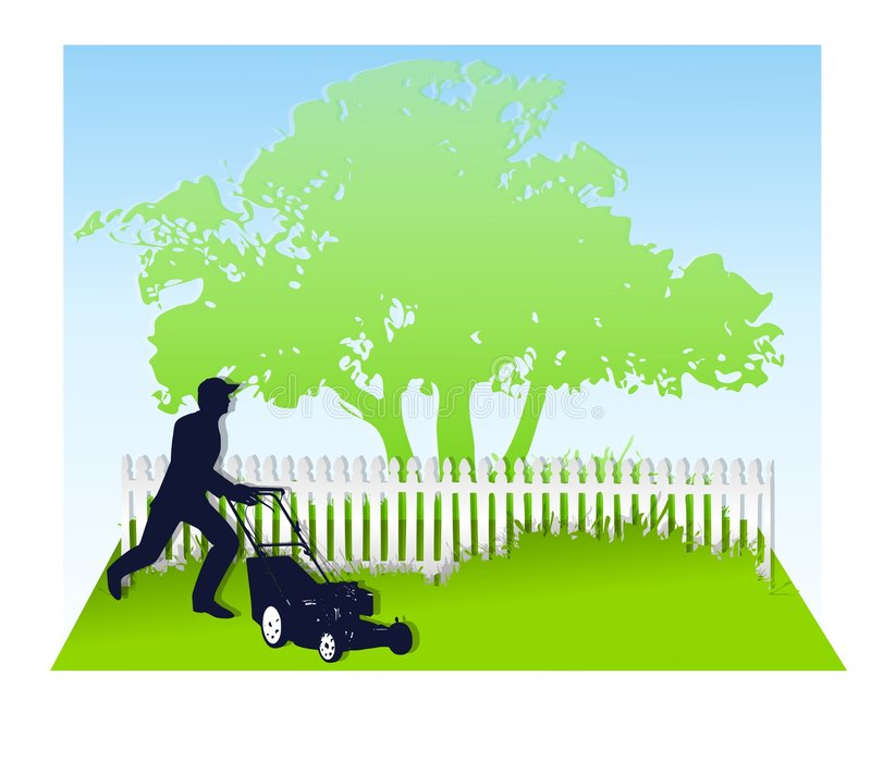 Mowing The Lawn In Spring vector illustration