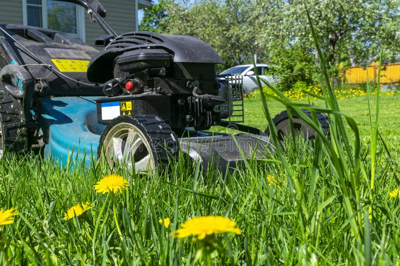 Mowing lawns. Lawn mower on green grass. Mower grass equipment. Mowing gardener care work tool. Close up view. Sunny day. stock photos