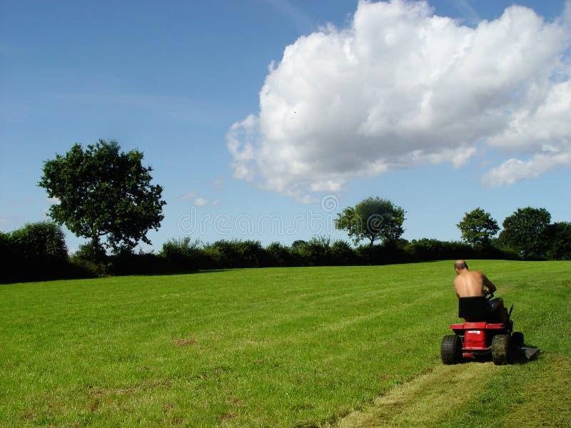 mowing man royalty free stock image