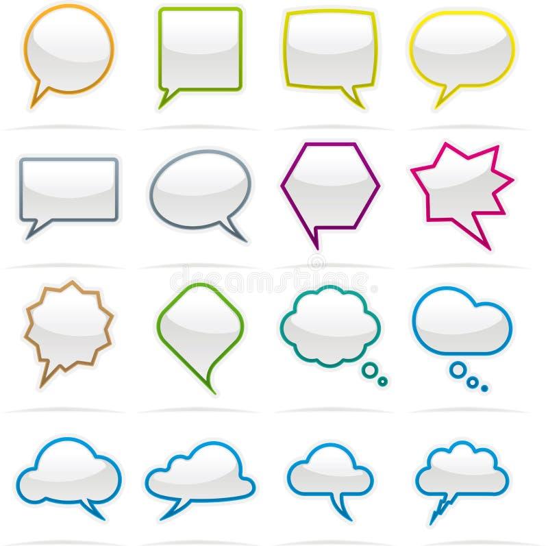 Mowy bąbla ikony set ilustracji