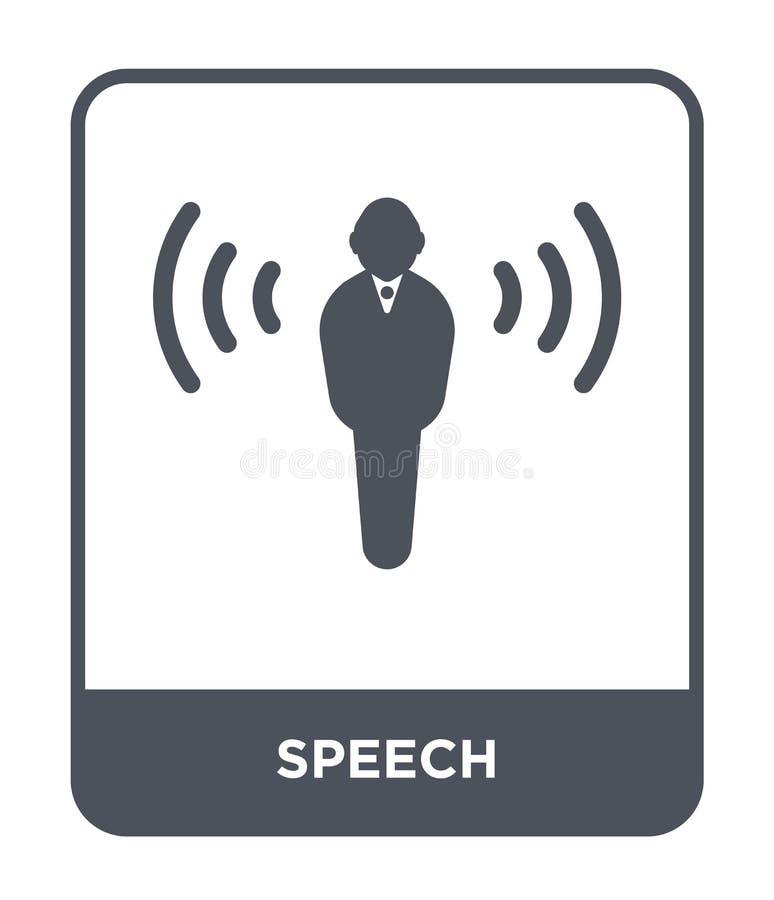mowy ikona w modnym projekta stylu Mowy ikona odizolowywająca na białym tle mowy wektorowej ikony prosty i nowożytny płaski symbo ilustracja wektor