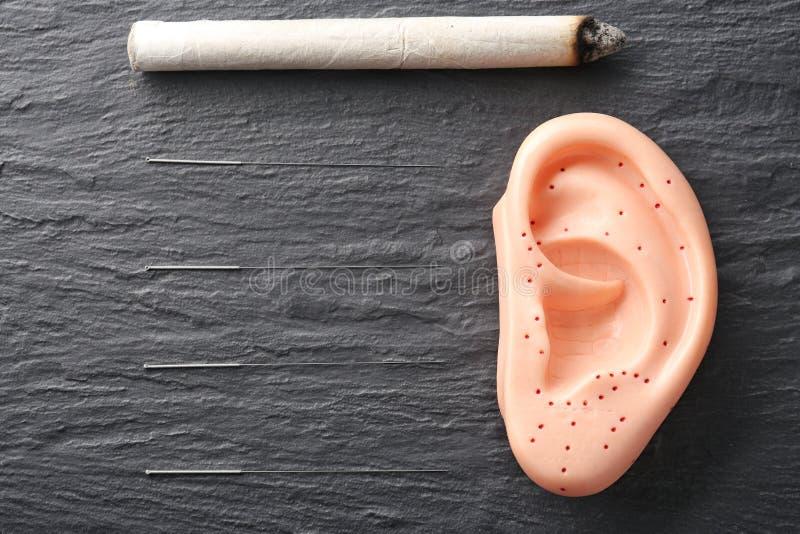 Moxastok, naalden voor acupunctuur en plastic model royalty-vrije stock afbeelding