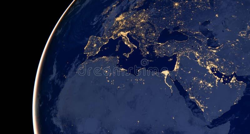 Moyen-Orient, Asie occidentale, l'Europe est s'allume pendant la nuit pendant qu'il ressemble à de l'espace Les éléments de cette images libres de droits