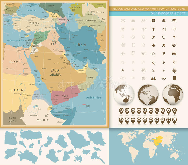 Moyen-Orient et couleurs occidentales de vintage de carte de l'Asie illustration libre de droits