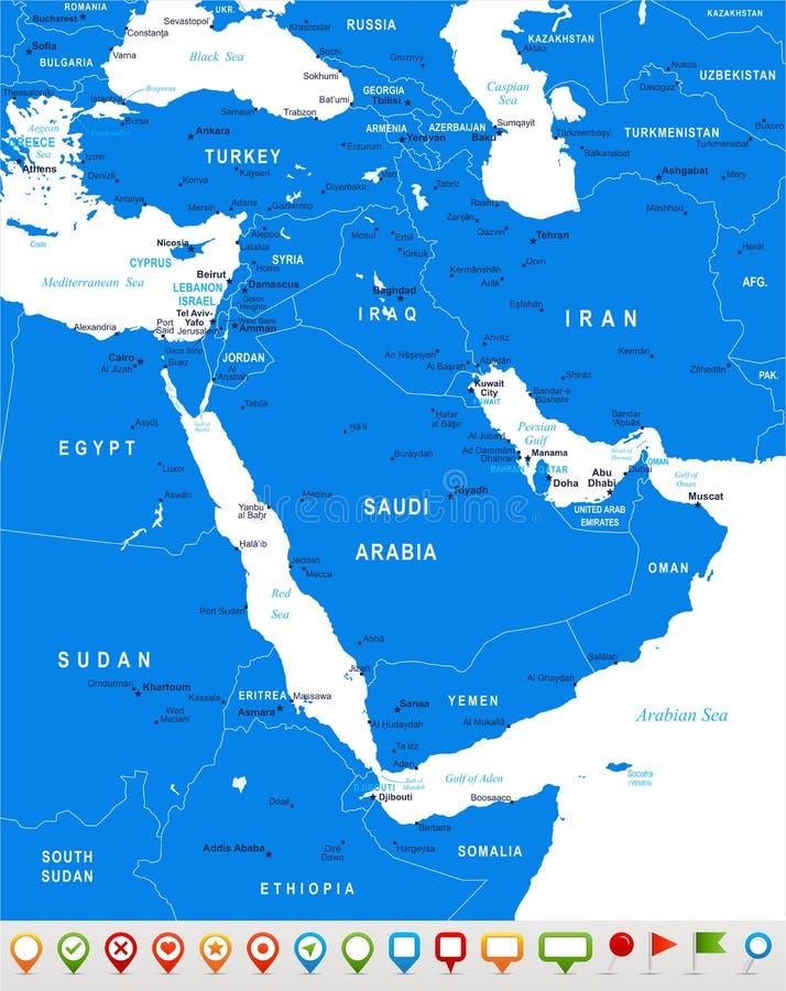 Moyen-Orient et l'Asie - carte et icônes de navigation - illustration illustration de vecteur