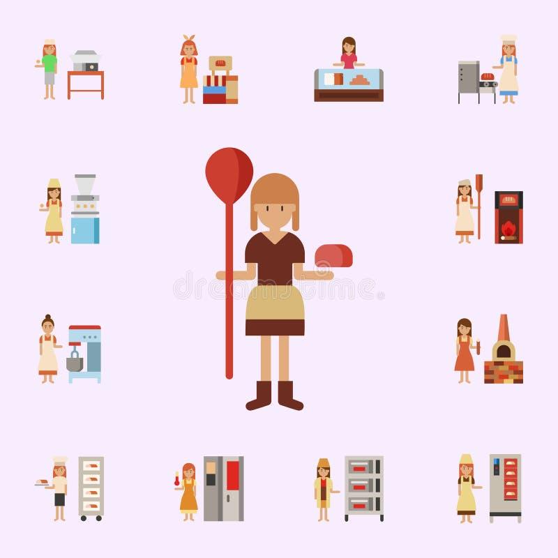 Moyens ?ges, ic?ne de couleur de boulangerie Ensemble universel d'ic?nes de boulangerie pour le Web et le mobile illustration libre de droits