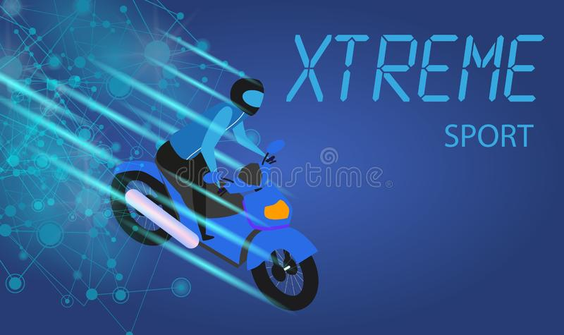 Moyobiker in Helmet Riding Blue Motocycle. Xtreme Sport Banner. Moyobiker in Helmet Riding Blue Motocycle. Motocross, Competition. Speed Racing. Extreme Sport royalty free illustration