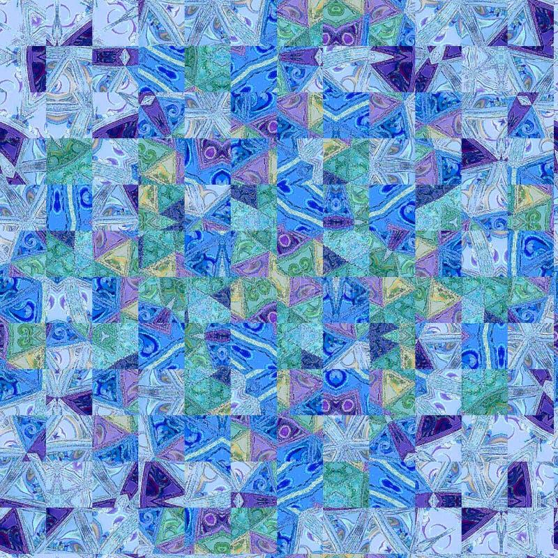 Mozaïek abstracte textuur in blauwe en witte vierkanten Modern kaartontwerp Chinees Patroon royalty-vrije illustratie