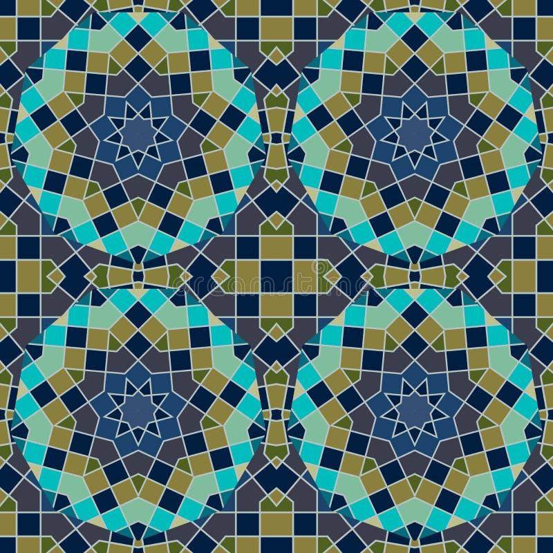Mozaïek Arabisch naadloos patroon met elementen van heilige meetkunde in vector Keramische tegel in groene en donkerblauwe tonen stock illustratie
