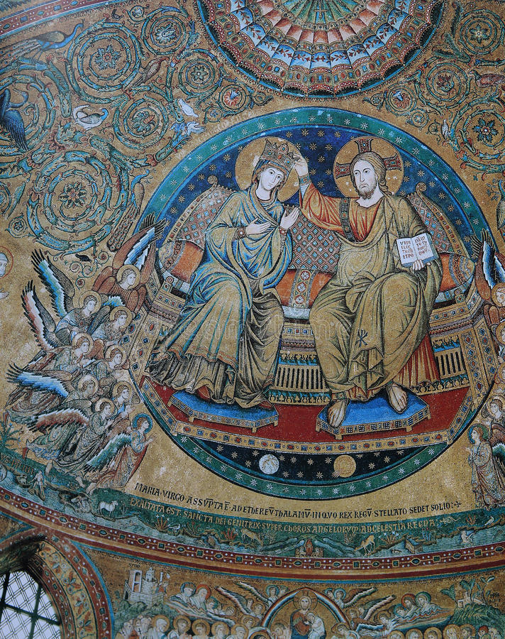 Mozaïek in Basiliek Santa Maria Maggiore, Rome, Italië stock afbeeldingen