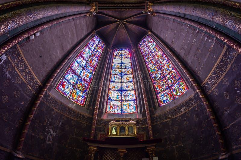 Mozaïek in de Kathedraal van Bourges stock foto