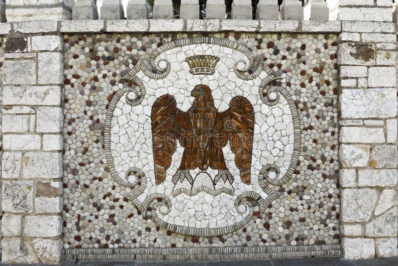 Mozaïek decoratief detail op externe muur royalty-vrije stock afbeelding