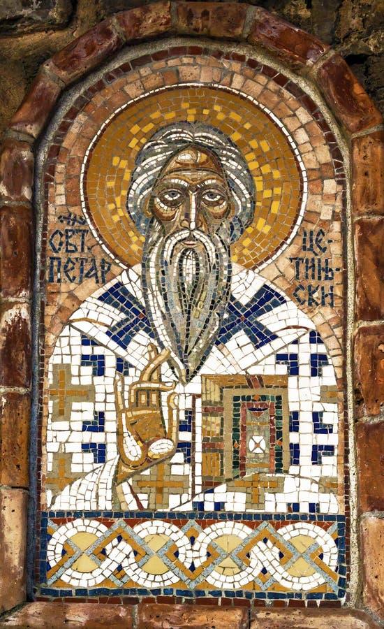 Mozaïek Orthodox Servisch pictogram van Heilige Peter van Cetinje in oud royalty-vrije stock afbeelding