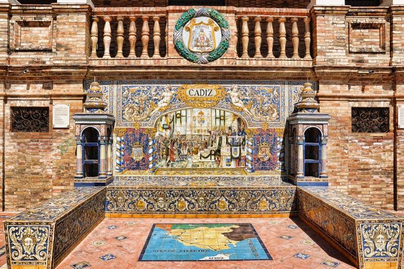 Mozaïek van Cadiz in het Vierkant van Spanje in Sevilla stock afbeeldingen