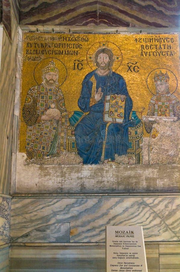 Mozaïek van Jesus Christ in Hagia Sophia, Ayasofya royalty-vrije stock afbeelding
