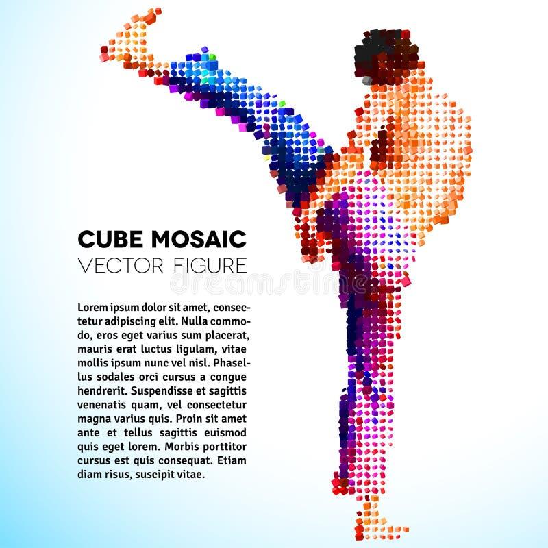Mozaïek vectorsportman die van kubussen wordt gemaakt stock foto's