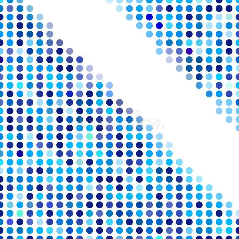 Mozaïek willekeurige donkere en lichtblauwe cirkels als achtergrond, vectorpatroon van stippen, neutraal veelzijdig patroon voor  stock illustratie
