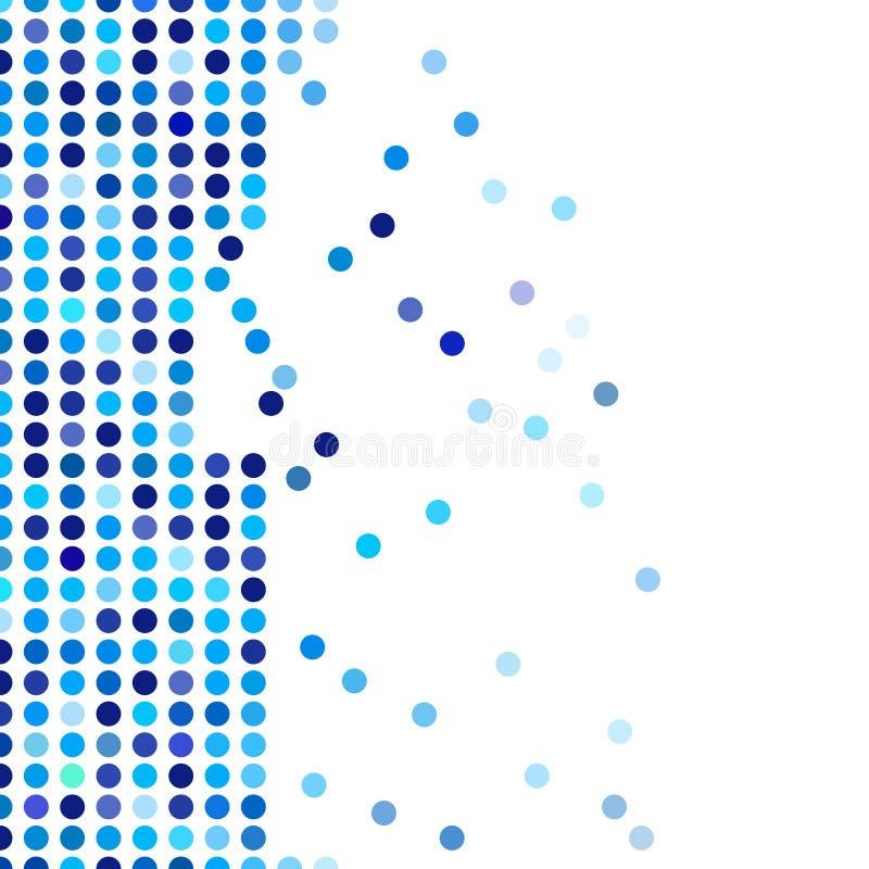 Mozaïek willekeurige donkere en lichtblauwe cirkels als achtergrond, vectorpatroon van stippen, neutraal veelzijdig patroon voor  vector illustratie