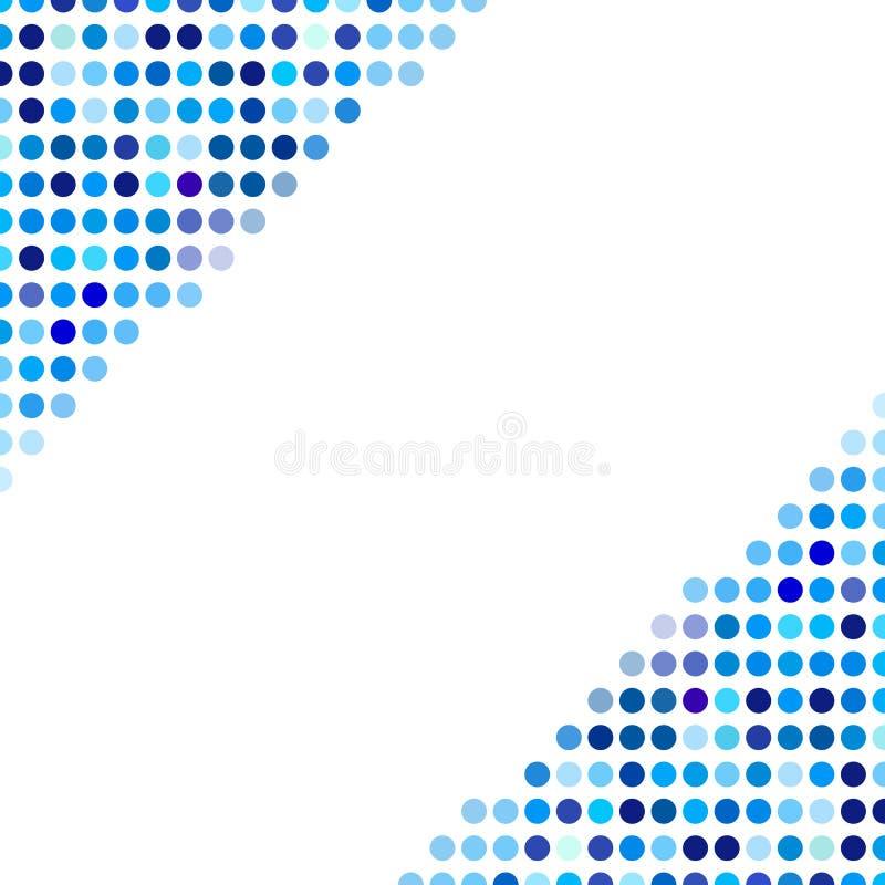 Mozaïek willekeurige donkere en lichtblauwe cirkels als achtergrond, vectorpatroon van stippen, neutraal veelzijdig patroon voor  royalty-vrije illustratie